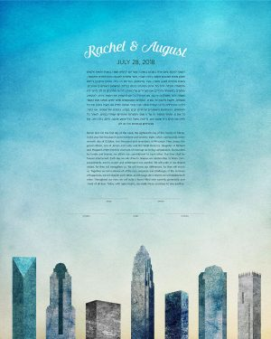 charlotte north carolina KETUBAH cityscape skyline contemporary art modern judaica jewish wedding