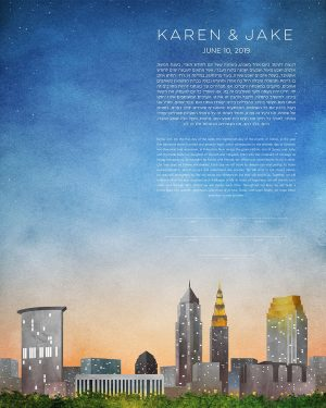 cleveland KETUBAH cityscape skyline contemporary art modern judaica jewish wedding ohio