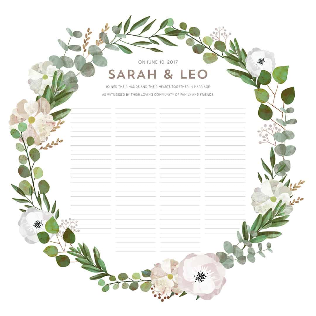 Good Earth Circle Blush Botanical Wedding Certificate Ink With Intent