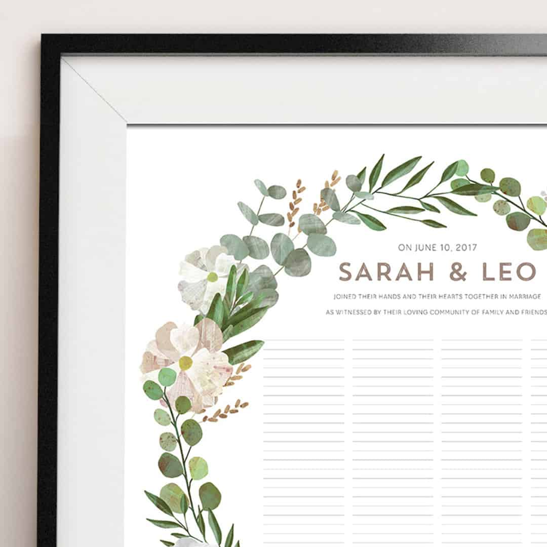 Marriage Certificate | Good Earth Circle Blush Botanical Wedding Certificate Ink With Intent