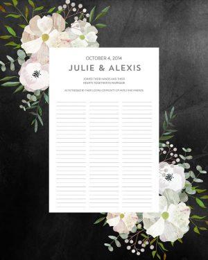Good Earth Beloved Floral Wedding Certificate Quaker Marriage Certificate Botanical Illustration Wedding Greenery