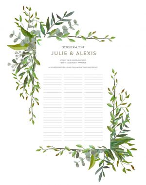 Good Earth Beloved Wedding Certificate Quaker Marriage Certificate Botanical Illustration Wedding Greenery