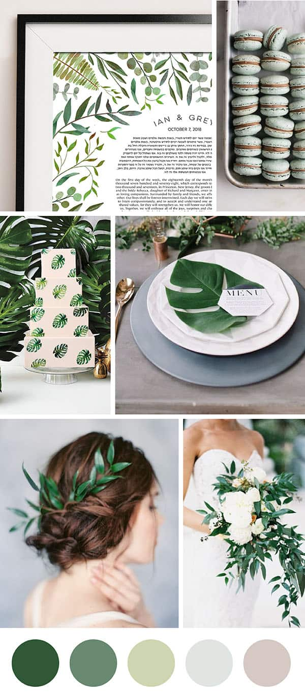Lush Jungle Jewish Wedding Ketubah modern judaica inspiration palms