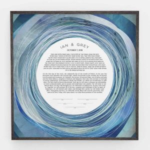 Tide pool Ketubah Ocean Abstract Art modern judaica contemporary blue unique wedding certifiate