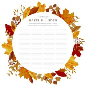 Good Earth Autumn Wreath Wedding Certificate Quaker Marriage Certificate Fall Leaves Botanical Illustration