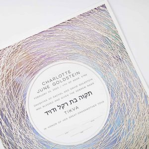 Encircled Paper Cut Hebrew Naming Certificate Purple