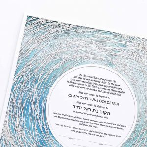 Encircled Paper Cut Hebrew Naming Certificate Blue