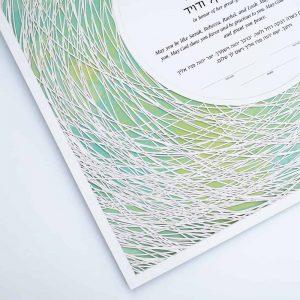 Encircled Paper Cut Hebrew Naming Certificate Green