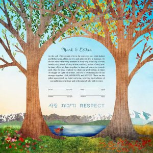 Four Seasons Intertwined Trees Ketubah