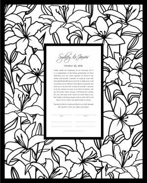 Lilies Papercut Ketubah