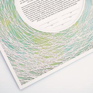 Encircled Paper Cut Ketubah Color Wash Petal