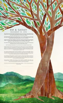 Intertwined Trees with Green Mountains Vermont Ketubah