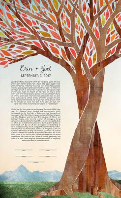 Intertwined Trees with Mountains Ketubah