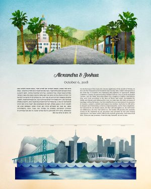 Beverly Hills and Vancouver Canada Ketubah