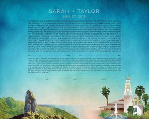 Cook Islands and San Diego California Ketubah