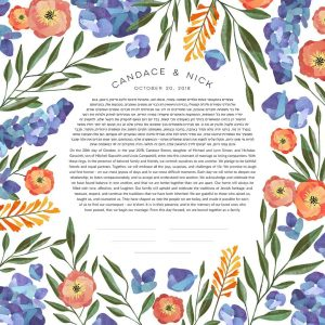 Hydrangeas and Coral Flowers Ketubah