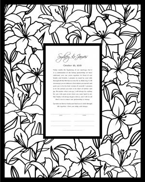 Lillies Paper Cut Ketubah
