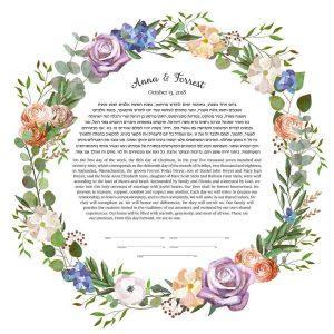 Roses Hydrangeas and Ranunculus Ketubah