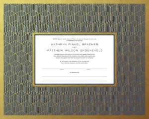 Cubed Geometric Design with Gold Paper
