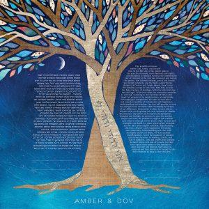 Intertwined Trees Against Night Sky Ketubah
