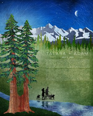 Redwoods and Mountains with custom silhouettes