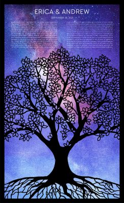 Tree of Life Paper Cut with Milky Way Ketubah