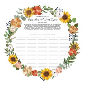 Wreath with Peach and Orange Florals Ketubah